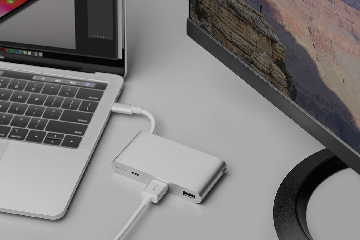 Simply connect the adapter to any HDMI-enabled monitor or TV.