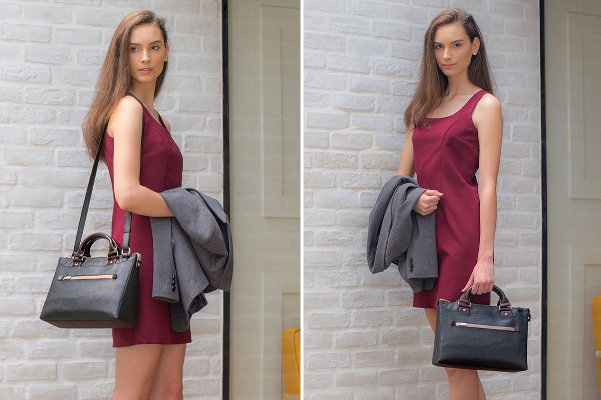 The shoulder strap lets you wear the bag on your shoulder, and can be removed when you want to go for a sleeker, hand-carry look.