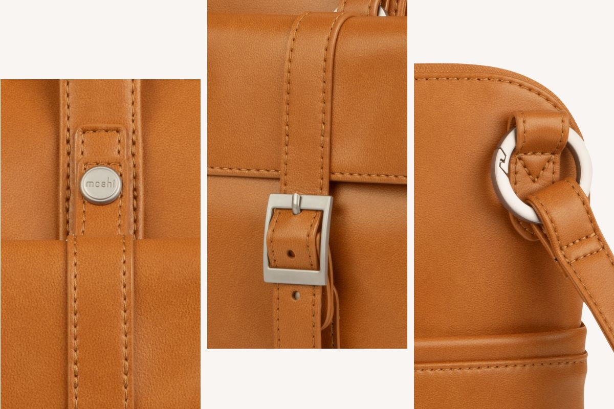 鋅合金扣環和拉鍊增添風格和提高耐用性。