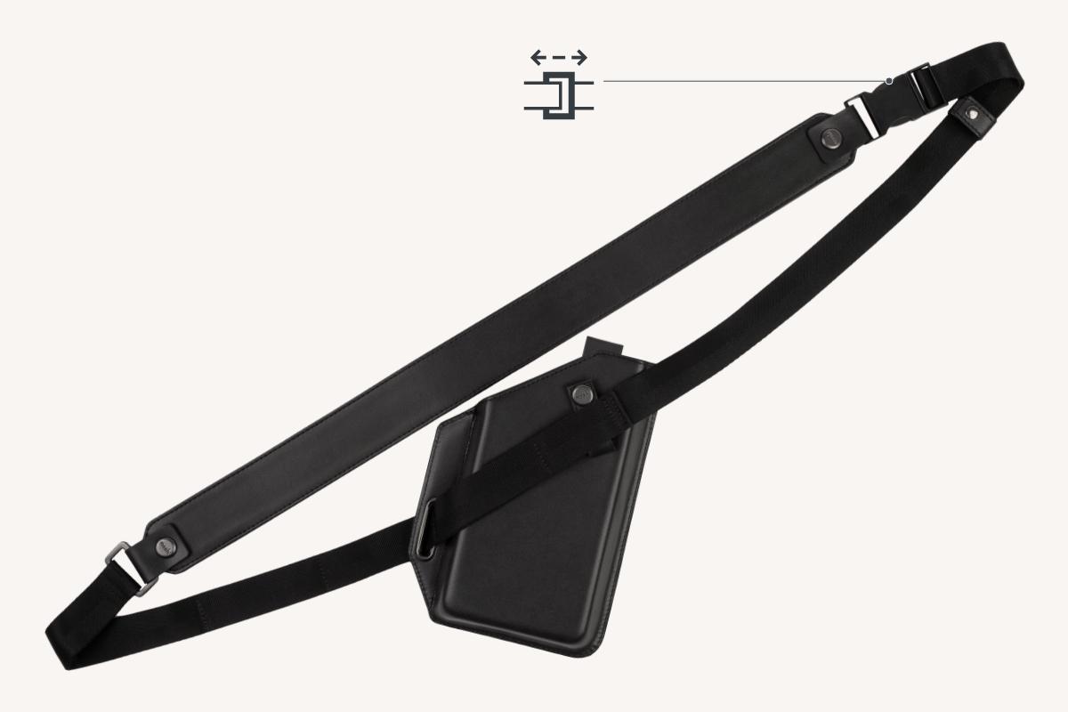 Incluye una correa de hombro ajustable y extraíble de 90 a 135 cm (35 - 53 pulgadas).