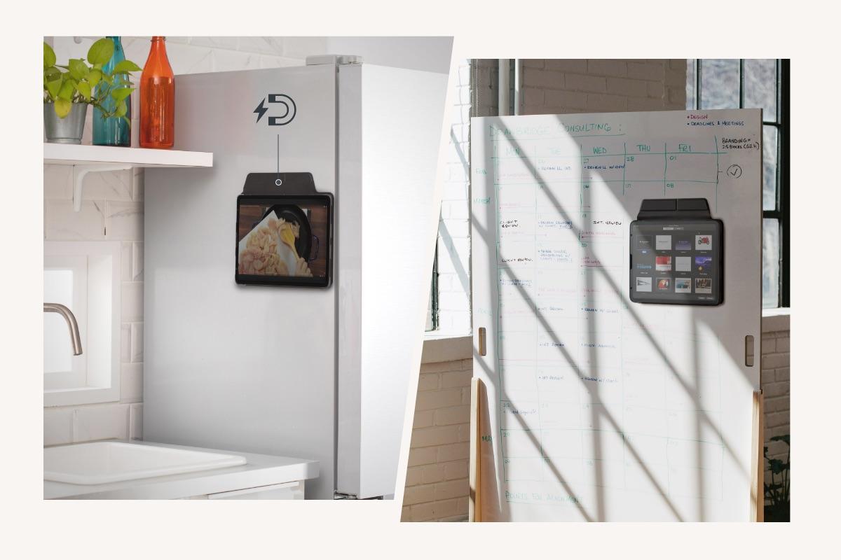 La coque magnétique du VersaCover lui permet de se fixer en toute sécurité sur toute surface métallique. Accrochez-le au réfrigérateur pour suivre facilement vos recettes préférées pendant que vous cuisinez, ou bien sur un tableau blanc afin de garder à portée de main vos contenus multimédias pendant que vous enseignez.